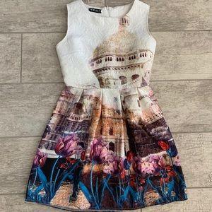 SheIn Vintage Print Sleeveless Dress